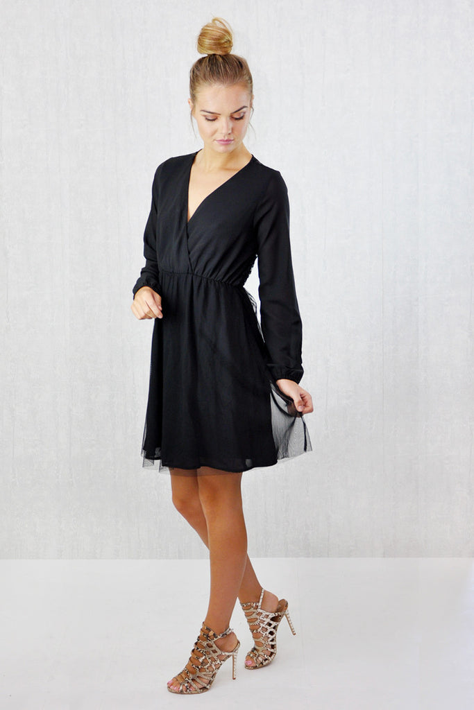 Orla Lace Back Wrap Front Skater Dress Black