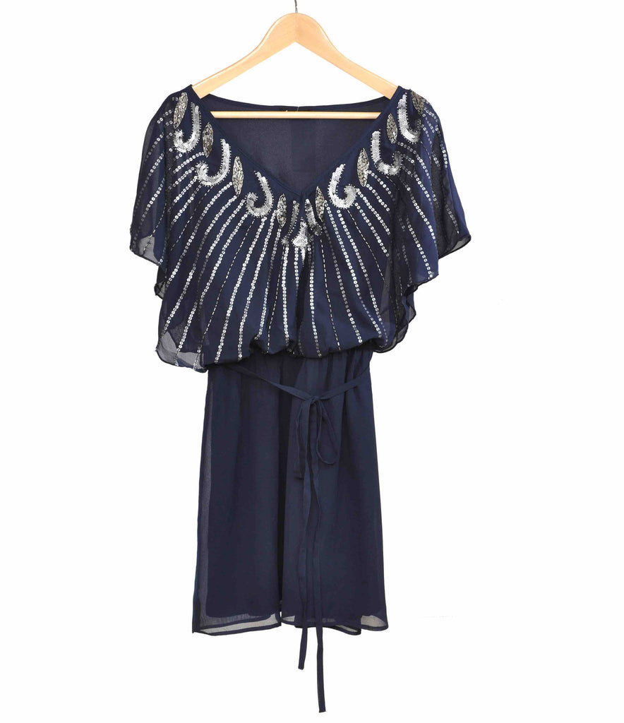 Angel Sleeve Sequin Fan Dress Navy