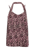 Leila Strappy Halter Drape Top Pink Animal