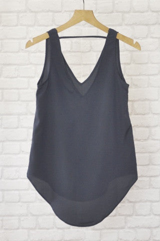 Annie Curve Hem V-Neck Front and Back Shell Navy