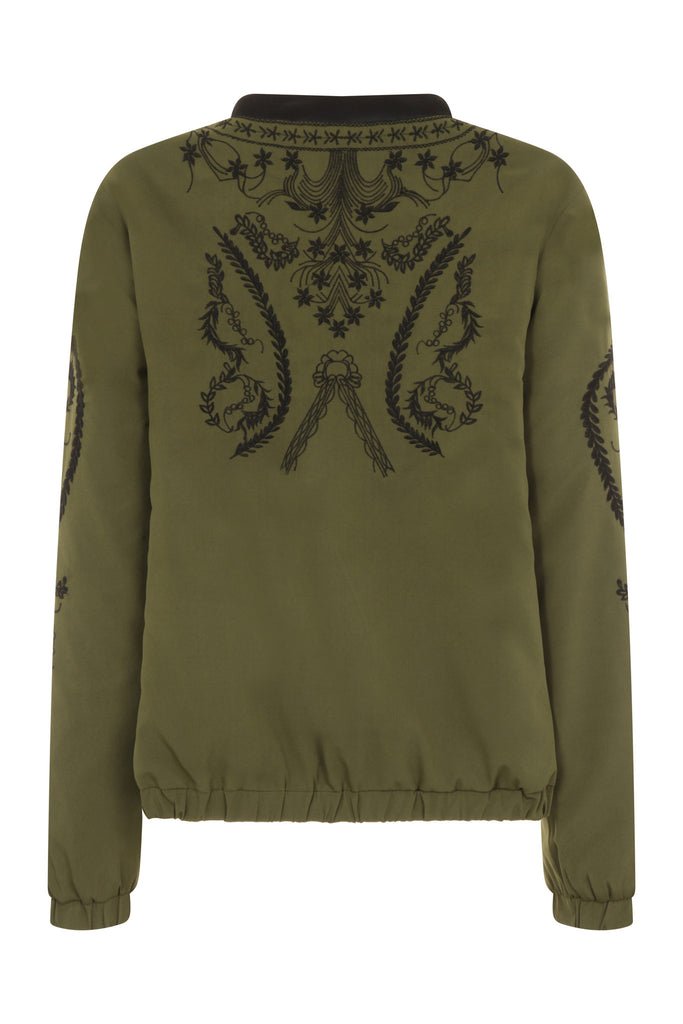 Gigi Zip Thru' Bomber Jacket Khaki w.Black Embroidery