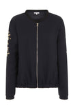 Gigi Zip Thru' Bomber Jacket Navy Beaded