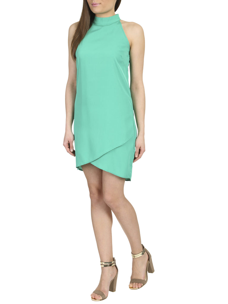 Zari High Neck Wrap Shift Dress Green