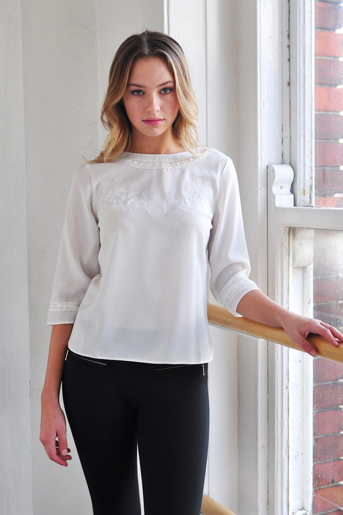 Lilith Vintage Style Embroidery & Lace Insert Top Off White
