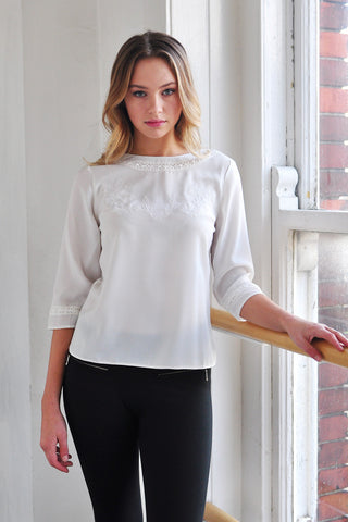 Mary-Cate Lace Trim Top Ivory