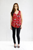 Annie Curve Hem V-Neck Front and Back Shell Burgundy Print