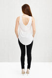 Annie Curve Hem V-Neck Front and Back Shell Ivory