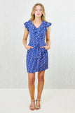 Finola Ruffle Wrap Belted Dress Blue Print