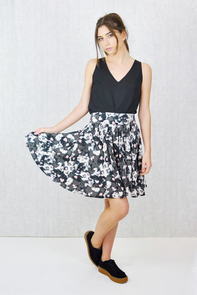 Sindy Swing Skirt Smudge Print