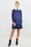 Alexa Embellished Contrast Collar Dropwaist Shift Dress Navy