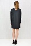 Alexa Embellished Contrast Collar Shift Dress Black