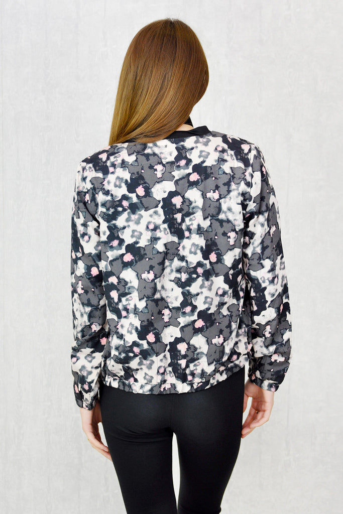 Gigi Zip Thru' Bomber Jacket Smudge Print