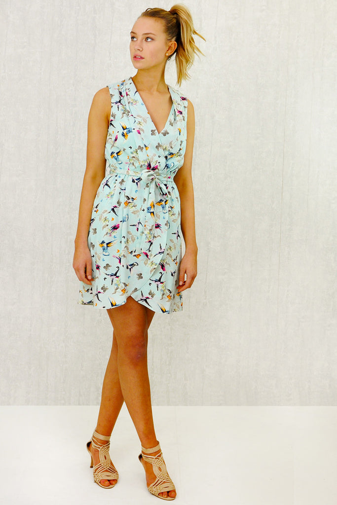 Lizzie Fold Wrap Tie Dress Mint Print