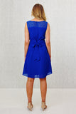 Lizzie Schiffli Lace Wrap Tie-Belted Dress Blue