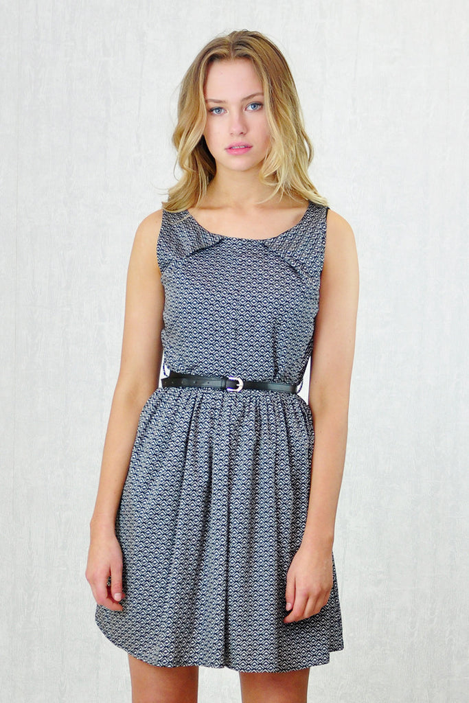 Henrietta Belted Fit and Flare Dress Grey Print