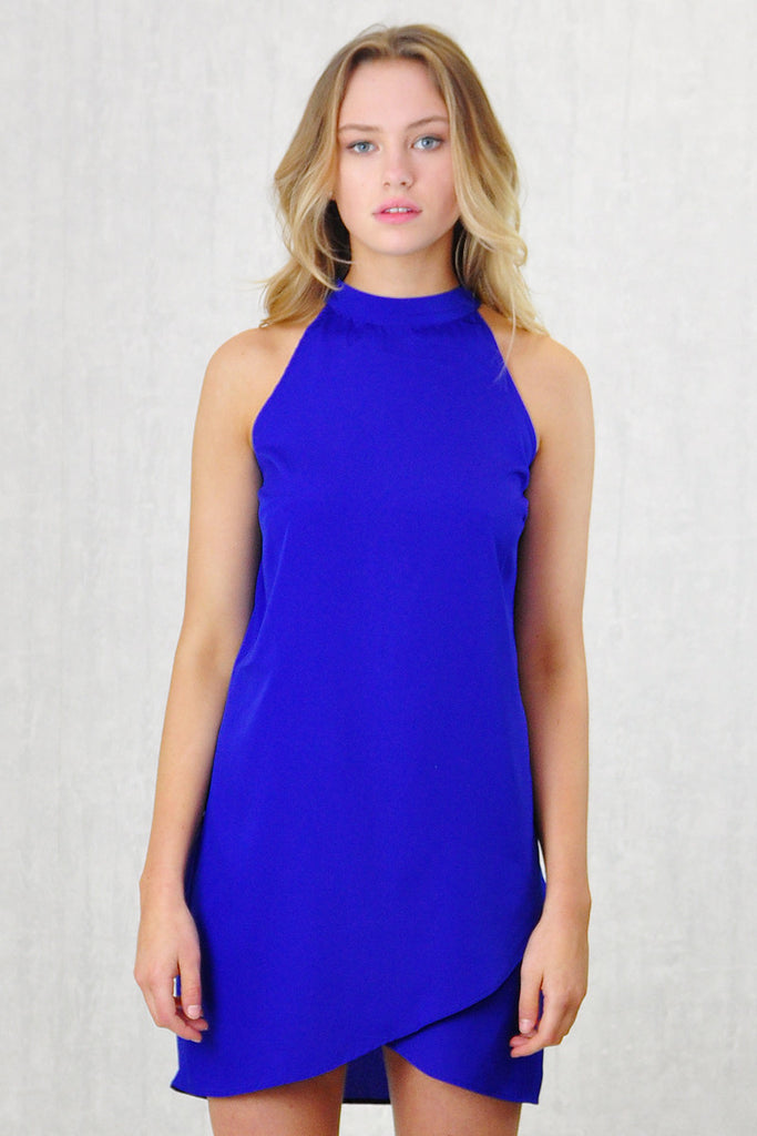 Zari High Neck Wrap Shift Dress Blue