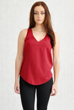 Annie Curve Hem V-Neck Front and Back Shell Dark Red