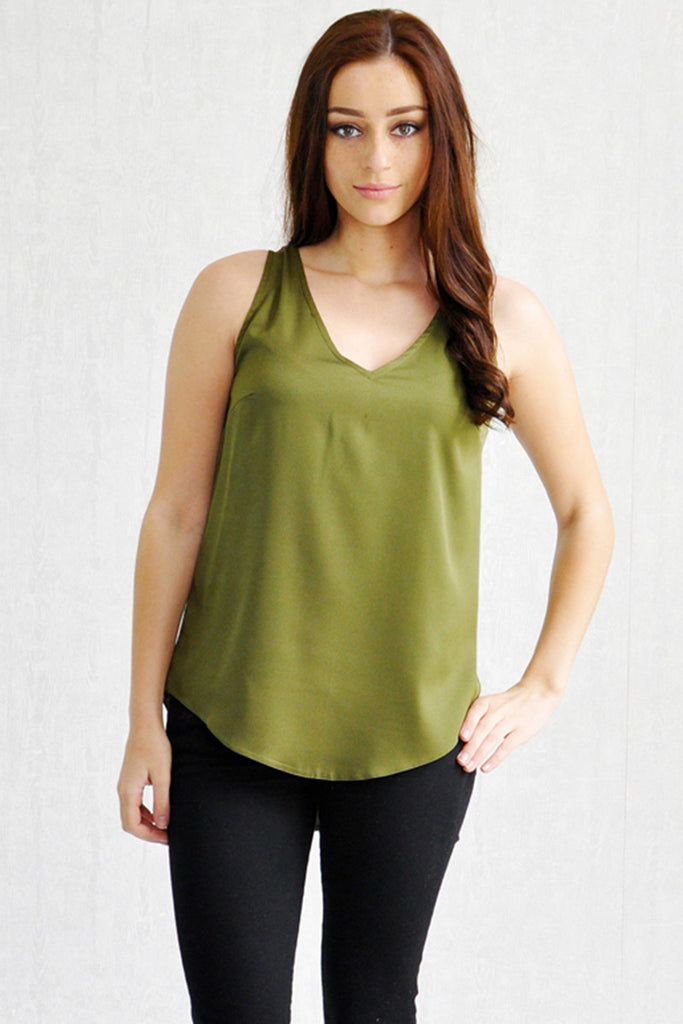 Annie Curve Hem V-Neck Front and Back Shell Khaki