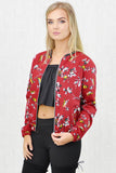 Gigi Zip Thru' Bomber Jacket Burgundy Print