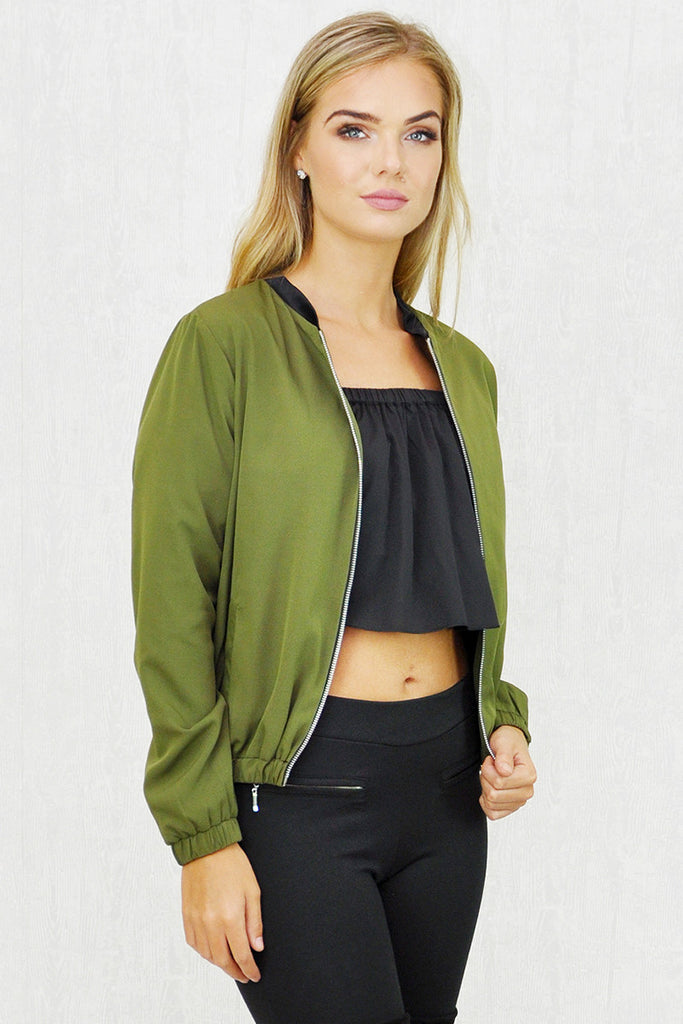 Gigi Zip Thru' Bomber Jacket Khaki
