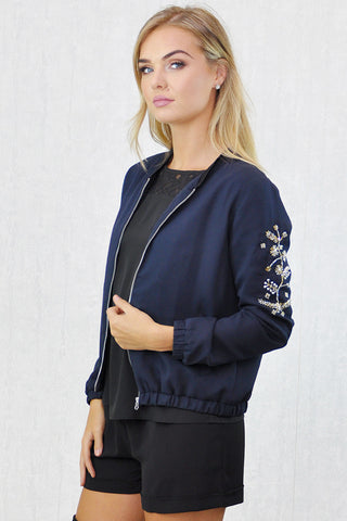 Gigi Zip Thru' Bomber Jacket Burg. Black Bead