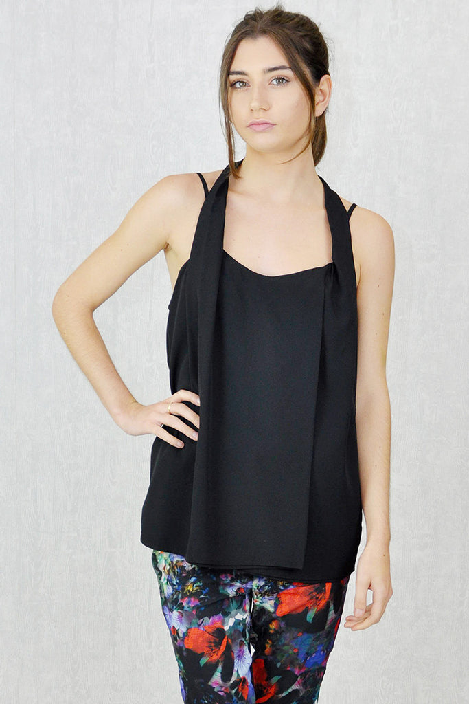 Leila Strappy Halter Drape Top Black