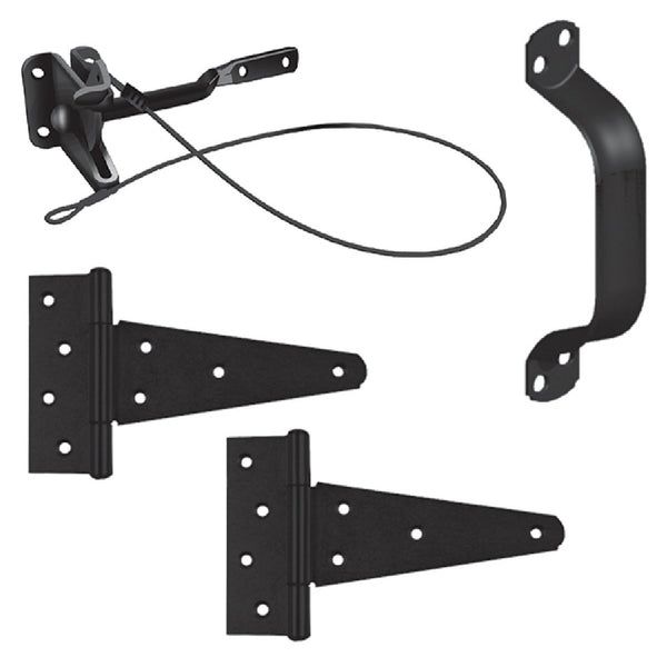 "Gate Hardware Kit, INCLUDES: Auto Latch with Cable (6011013), 8"" Pull Handle (1471753), Pair of 6: Tee Hinges (0501503) All fasteners included. Comes in retail box."