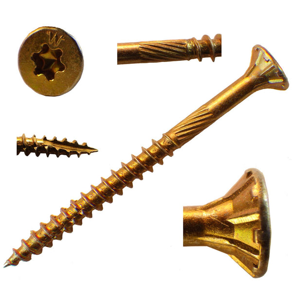 Yellow Zinc Coated Star Drive Wood Screws