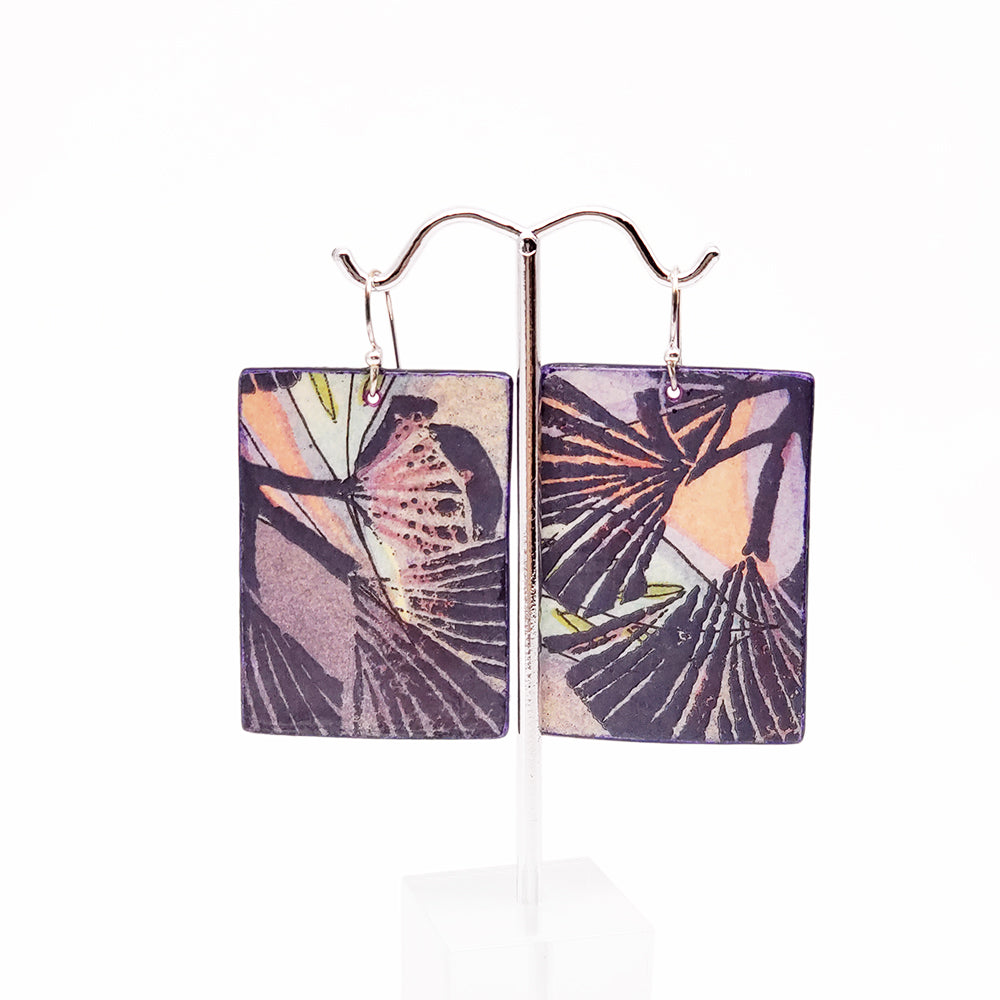 Load image into Gallery viewer, Purple and Pink Watercolor Earrings