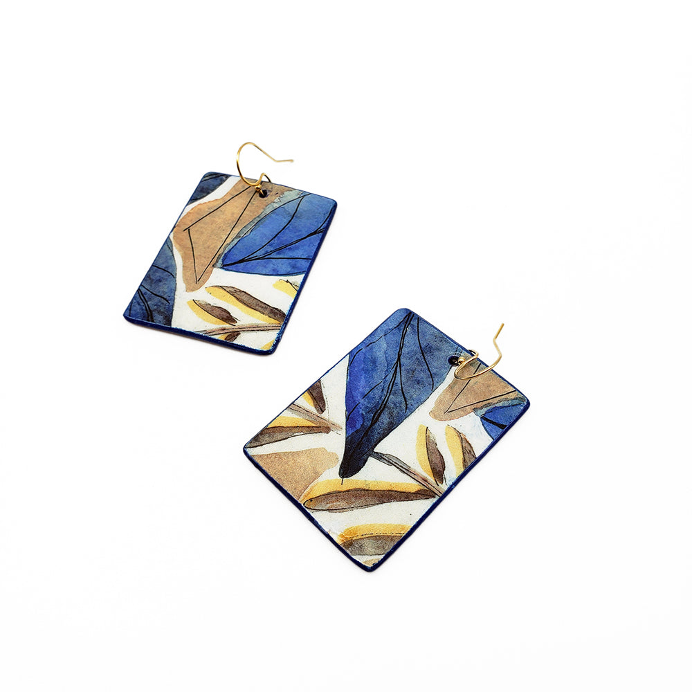 Blue Brown Leaves Watercolor Earrings