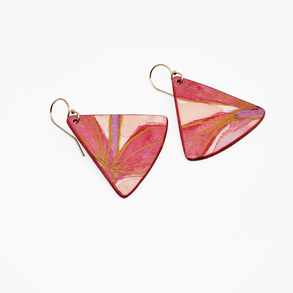 Bright Pink Triangle Watercolor Earrings