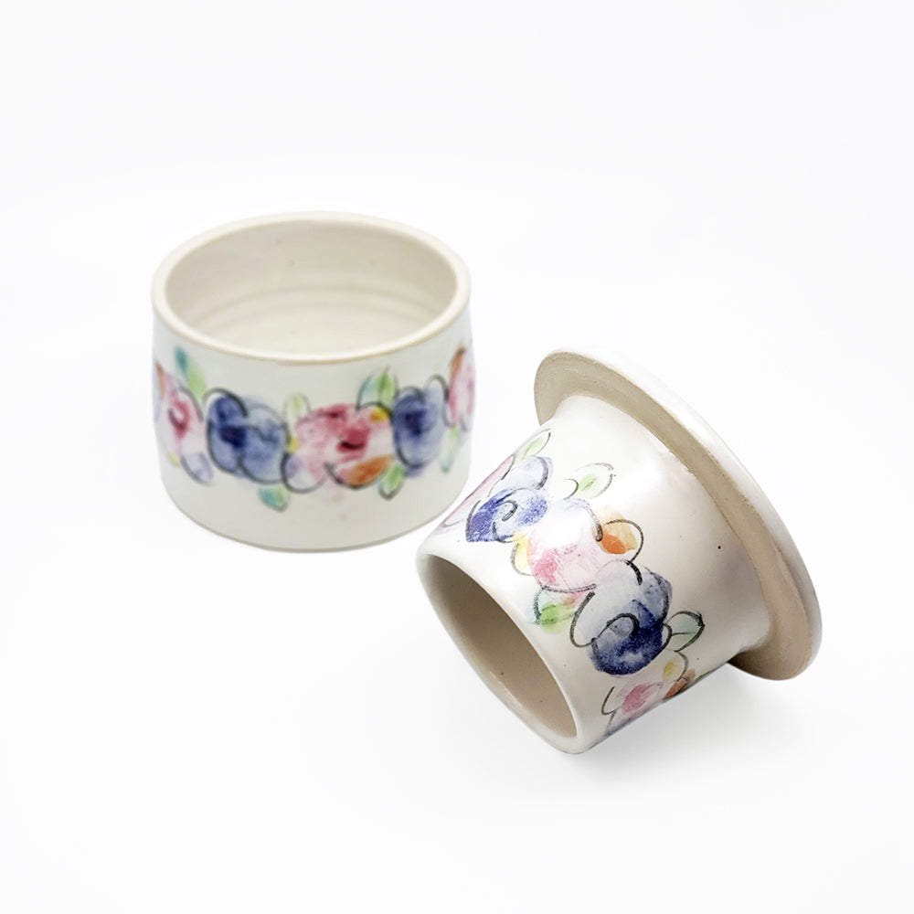 Floral French Butter Dish