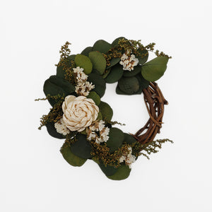 Eucalyptus and White Mini Wreath