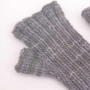 Gray Green Cabled Mitts