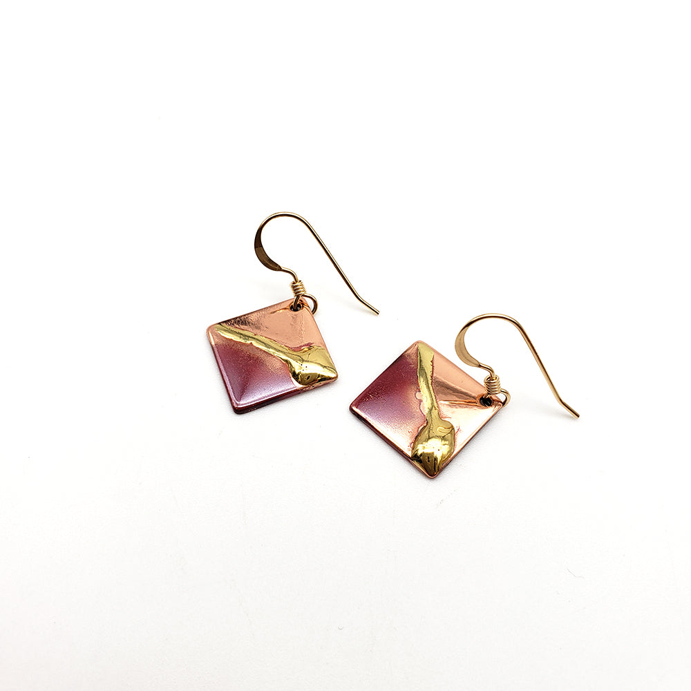 "Load image into Gallery viewer, Morningstar Metalworks 1/2"" Diagonal Square Earrings"