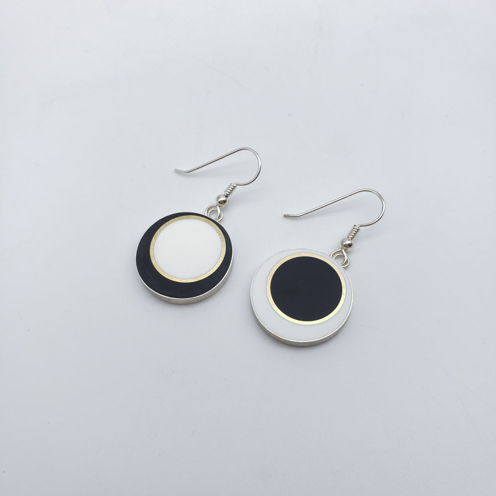 Black And White Offset Circle Earrings