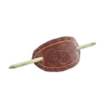 Leather Hand Tooled Barrette