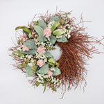 Wreath Sage Salal and Pink Sola Flowers