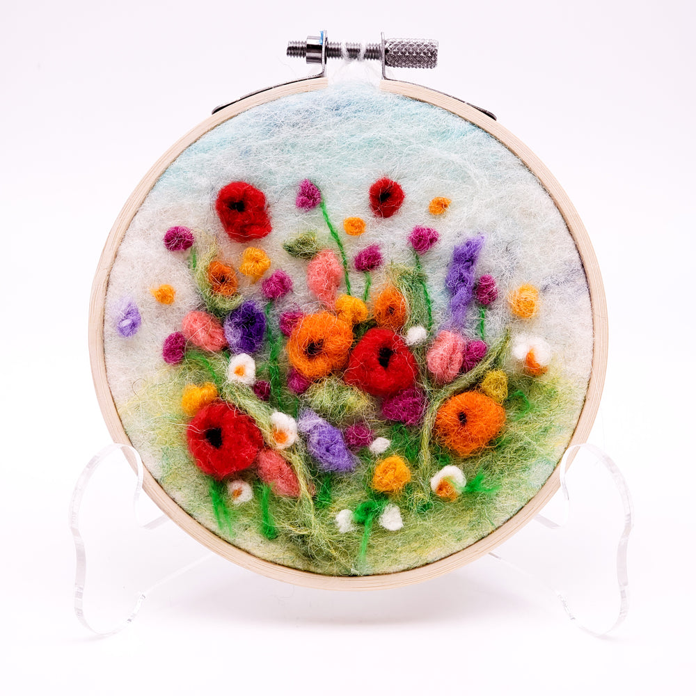 Small Felted Floral Hoop Art