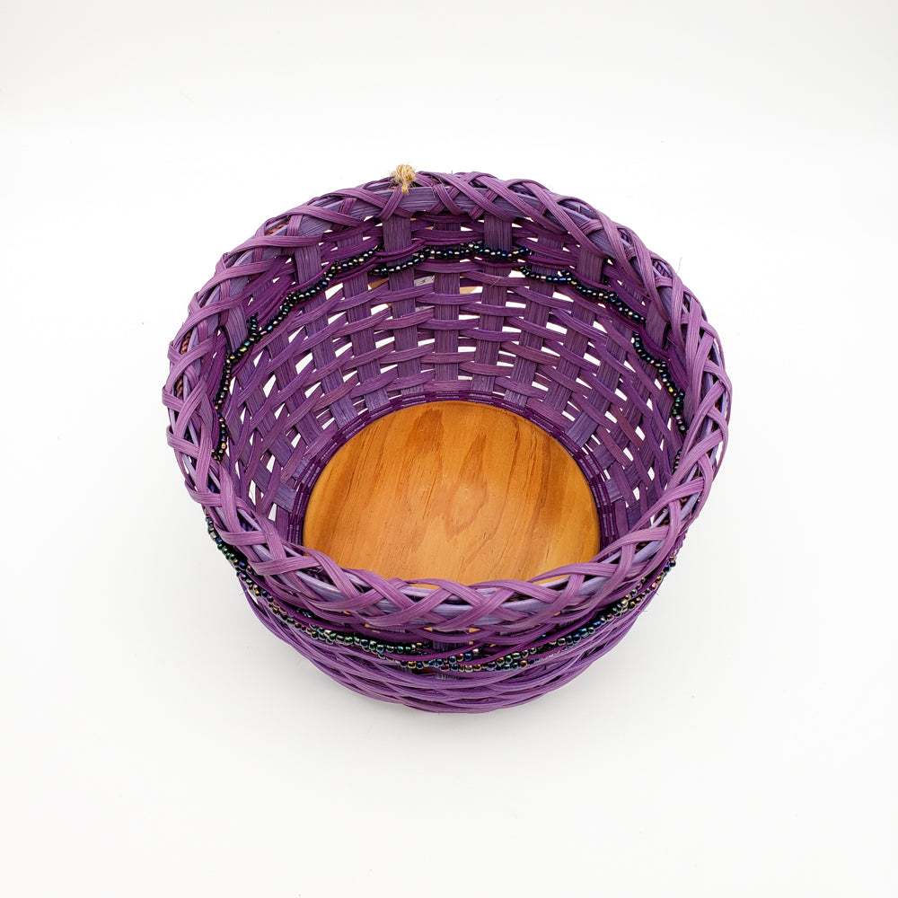 Load image into Gallery viewer, Purple Bead Embellished Basket