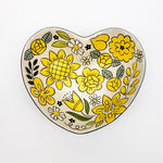 Heart Serving Bowl With Yellow Florals
