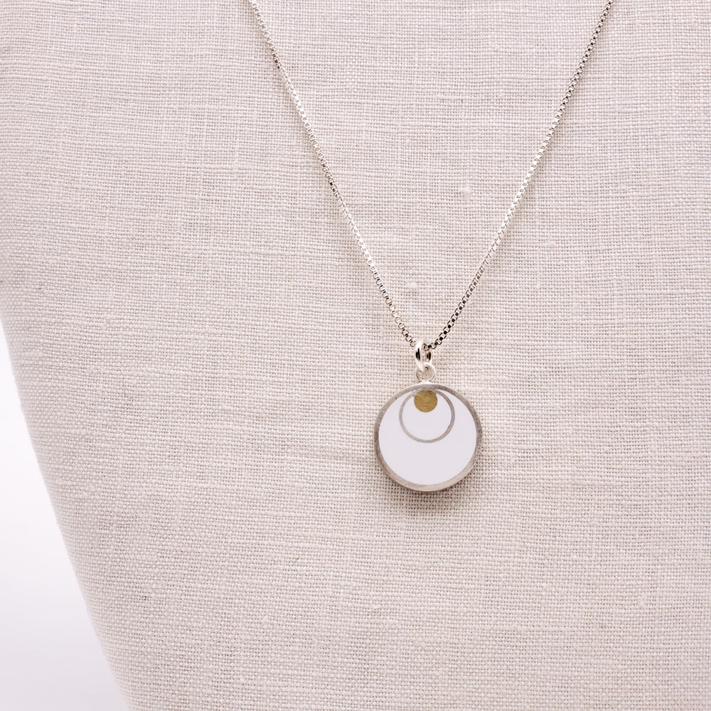 Silver Circle on Brass Dot White Pendant