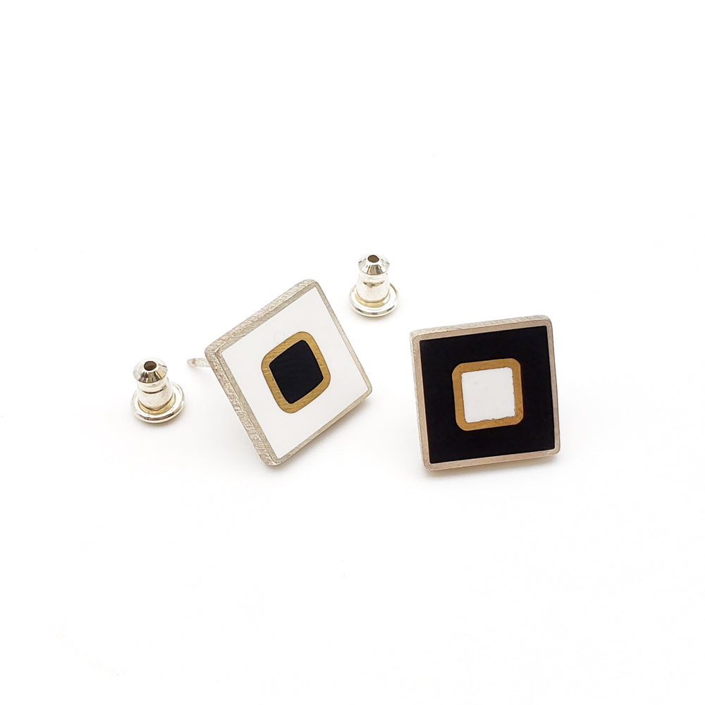 Black And White Square Studs