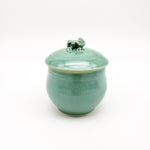 Handmade Green Jar With Frog