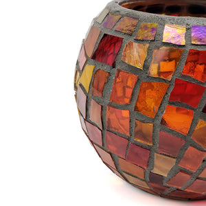 Mosaic Candle Votive in Orange and Red