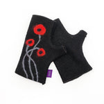 Black and Red Poppy Wool Mittens