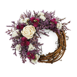Small Grapevine Wreath With Purple and White Status