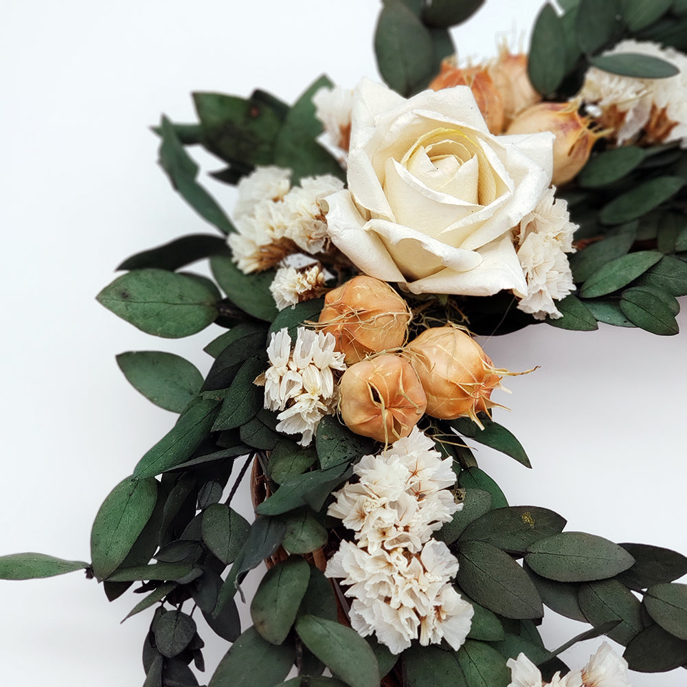 Small Grapevine Wreath With White Rose Center and Status