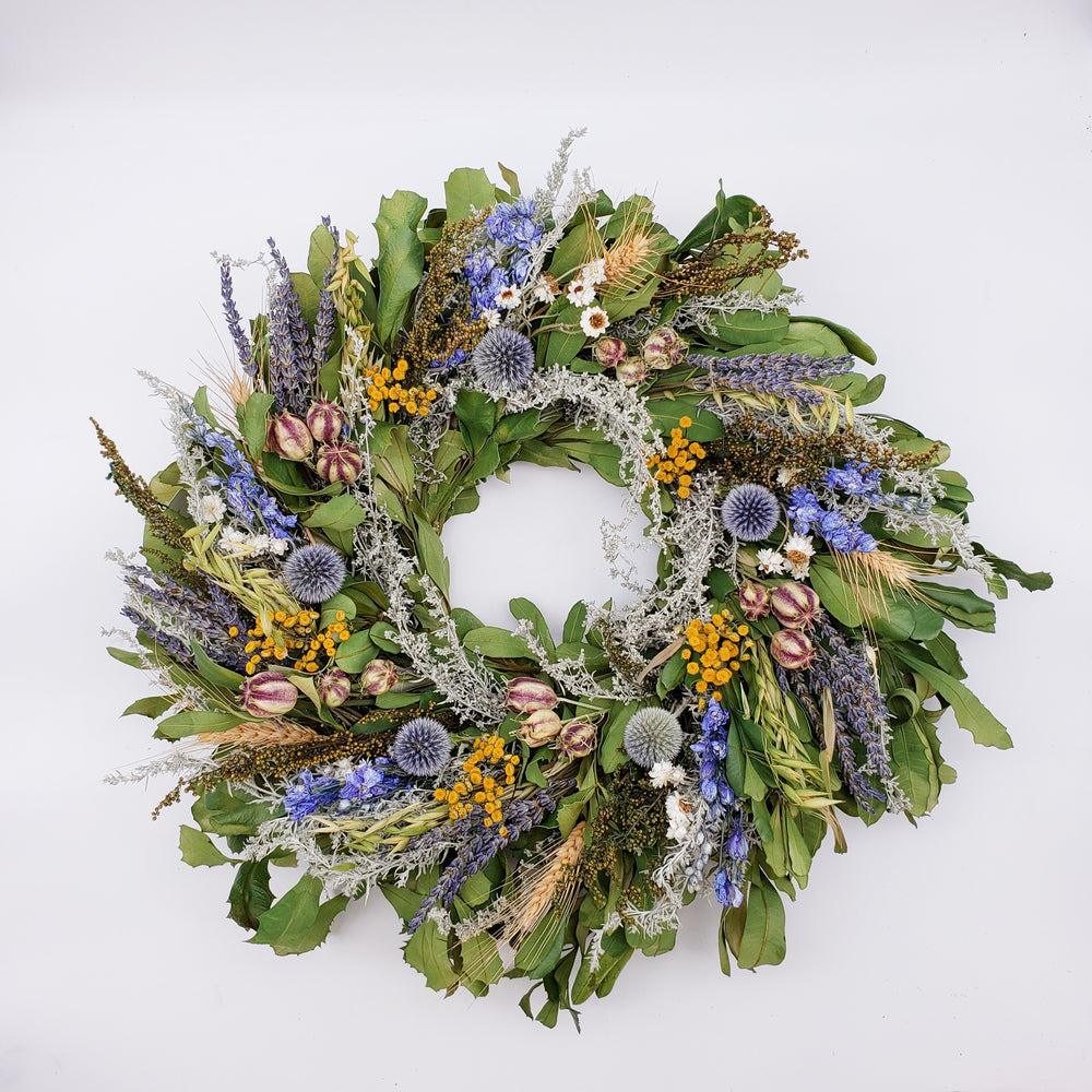 Wreath with Blue Larkspur