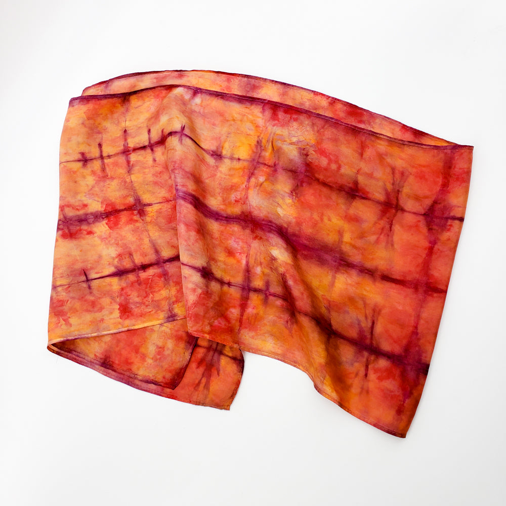 Load image into Gallery viewer, Rust & Purple Silk Scarf